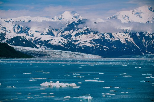 Panoramic view of snow covered mountains, Yakutat Bay, Alaska, USA : Stock Photo