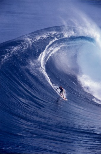 Stock Photo: 1176-346 High angle view of a man surfing on a wave, Peahi, Maui, Hawaii, USA