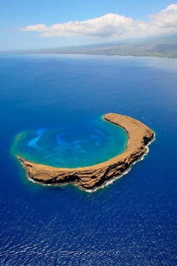 Aerial view of an island, Molokini, Maui, Hawaii, USA : Stock Photo