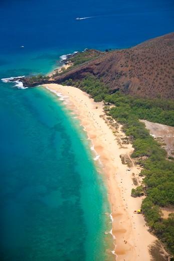 High angle view of a coast, Big Beach, Makena State Park, Makena, Maui, Hawaii, USA : Stock Photo