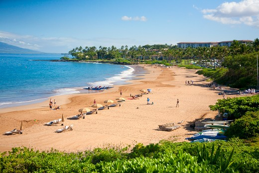 Tourists on the beach, Wailea Beach, Grand Wailea Resort, Maui, Hawaii, USA : Stock Photo