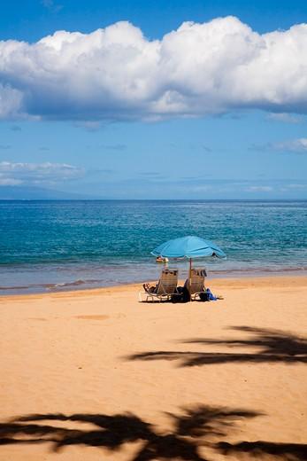 Stock Photo: 1176-720 Tourists on the beach, Wailea Beach, Grand Wailea Resort, Maui, Hawaii, USA