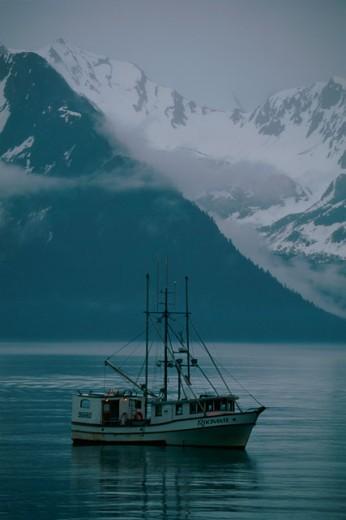 Fishing boat in water, Resurrection Bay, Alaska, USA : Stock Photo