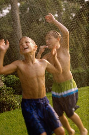 Stock Photo: 1189-1538 Two boys playing in a water sprinkler on a lawn