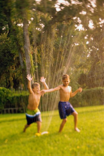 Stock Photo: 1189-1545A Two boys playing in a water sprinkler on a lawn