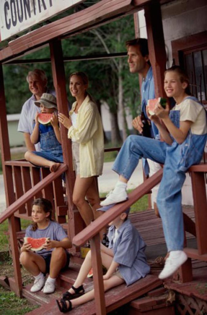 Three generation family on a porch : Stock Photo