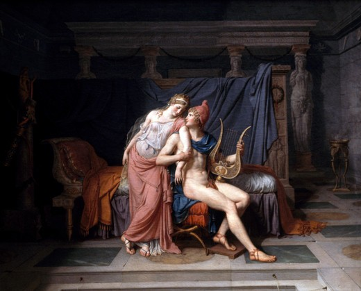 Stock Photo: 1191-702 Paris and Helen by Jacques Louis David, (1748-1825), France, Paris, Musee du Louvre