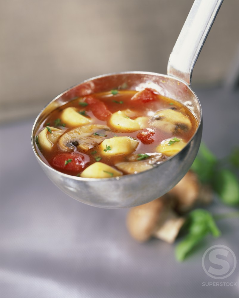 Stock Photo: 1195-109 Tomato and mushroom soup in a ladle