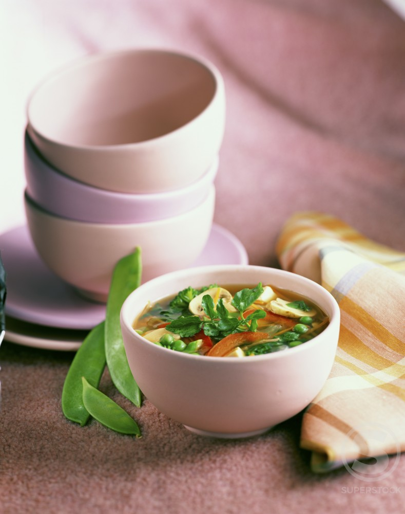 Vegetable Broth in a bowl : Stock Photo