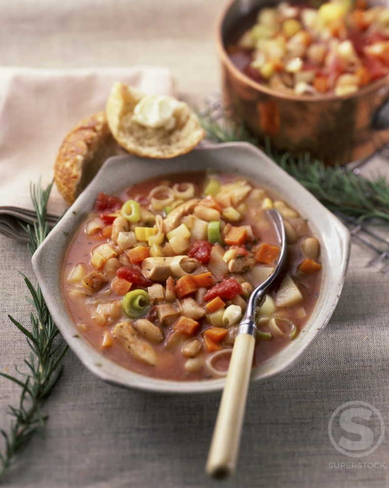 Chicken Vegetable Soup in a bowl : Stock Photo