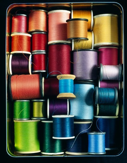Colorful threads in box : Stock Photo
