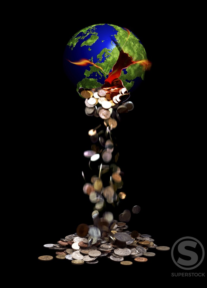 Stock Photo: 1198-105 Coins falling out of a broken globe