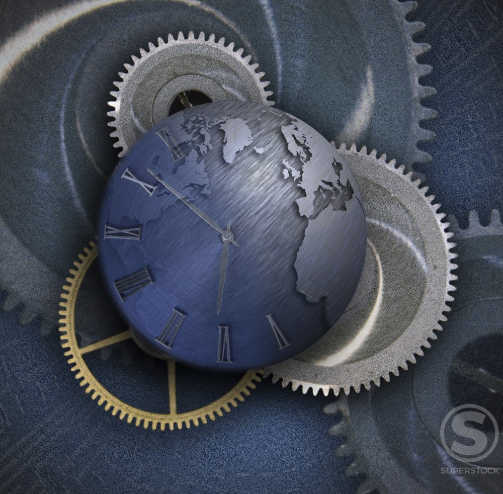Stock Photo: 1198-173 Globe over cog wheels
