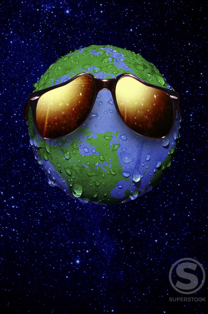 Sunglasses melting on a globe : Stock Photo