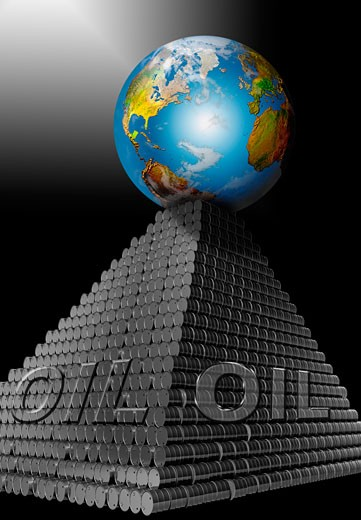 Stock Photo: 1204-158 Oil Earth Barrels Pyramid by Mike Agliolo, computer graphics