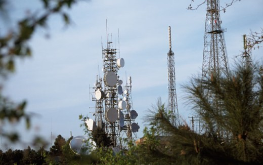 Low angle view of communication towers : Stock Photo