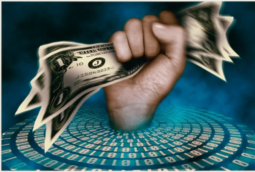 Human hand crushing US dollar bills with the binary code below : Stock Photo