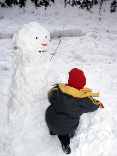 Rear view of a boy making a snowman : Stock Photo