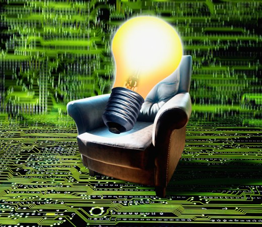 Stock Photo: 1220-918 Chair with a light bulb on a circuit board