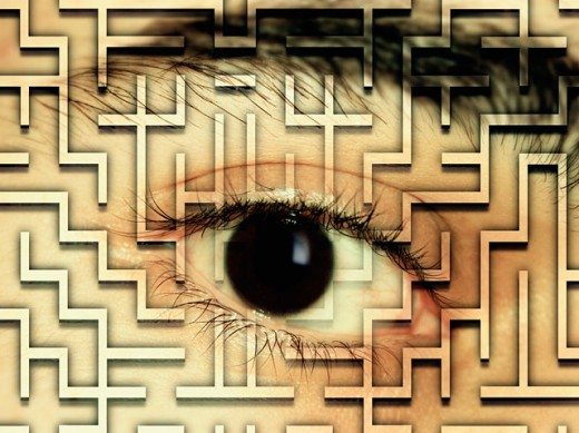Stock Photo: 1220-977 Close-up of a human eye superimposed over a maze