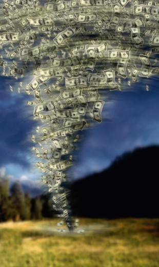 Paper money in the form of a tornado : Stock Photo