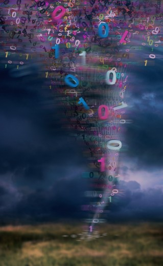 Stock Photo: 1220R-763 Twister of binary code