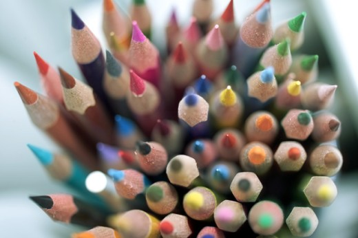 High section view of colored pencils : Stock Photo