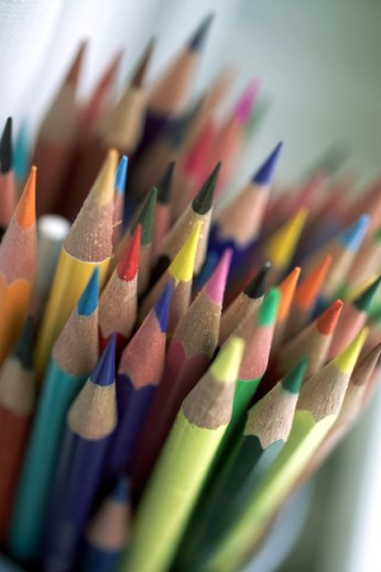 Stock Photo: 1220R-806 High section view of colored pencils