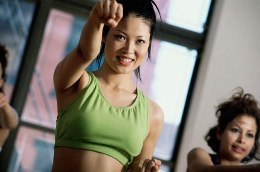 Stock Photo: 1227-108 Young women exercising