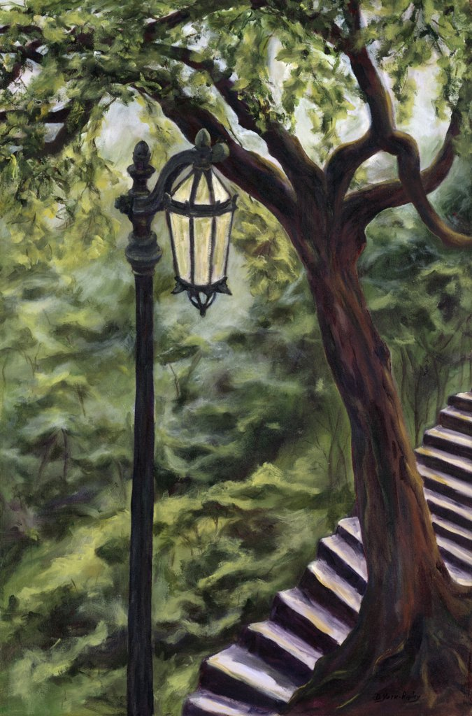Stock Photo: 1238-207 Chile, Santiago, Lantern of St. Lucia by Diantha York-Ripley, acrylic on canvas, 1997, 20th century, private collection