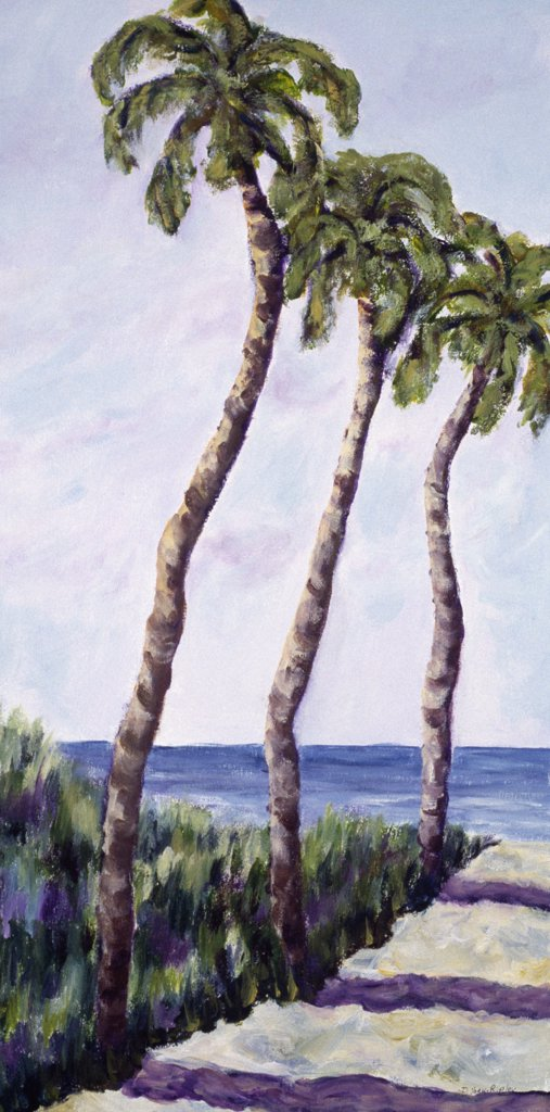 Stock Photo: 1238-222 Three Palms by Diantha York-Ripley, acrylic on canvas, 2002