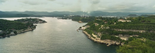 High angle view of a coastline, Santiago de Cuba, Cuba : Stock Photo
