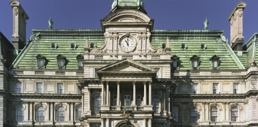 Stock Photo: 1241-1525 High section view of a government building, Town Hall, Montreal, Quebec, Canada