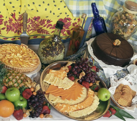 Close-up of fruits and desserts : Stock Photo