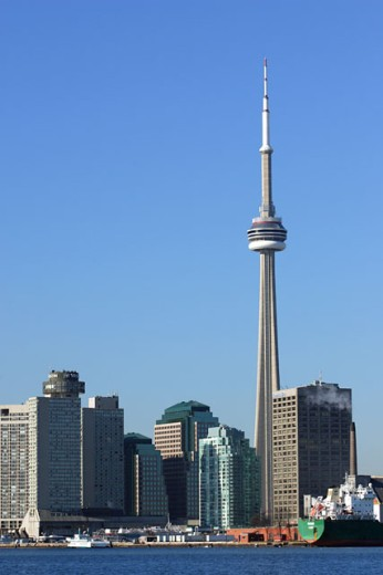 Skyscrapers on the waterfront, CN Tower, Toronto, Ontario, Canada : Stock Photo