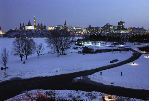 Stock Photo: 1241-927 Snow covered landscape at night, Ottawa, Ontario, Canada
