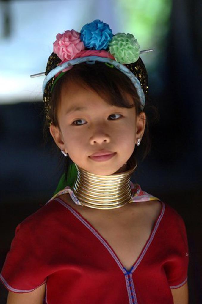 Stock Photo: 1245-677 Thailand, Chang Mai, Tha Ton, Long Neck woman (Myanmar), North tribes