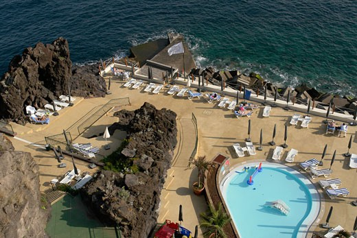 Aerial view of swimming pool in a hotel, Cliff Bay Hotel, Funchal, Madeira, Portugal : Stock Photo