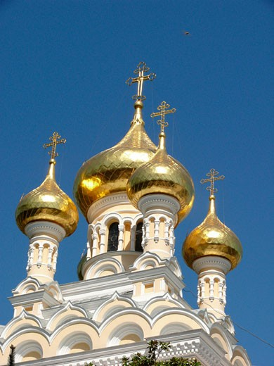 Low angle view of a cathedral, St. Alexander Nevsky Cathedral, Yalta, Ukraine : Stock Photo