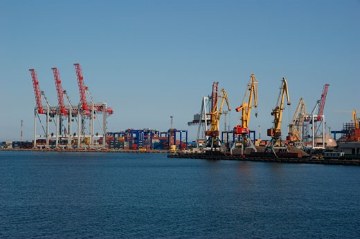 Stock Photo: 1246-1031A Cranes at a commercial dock, Odessa, Ukraine