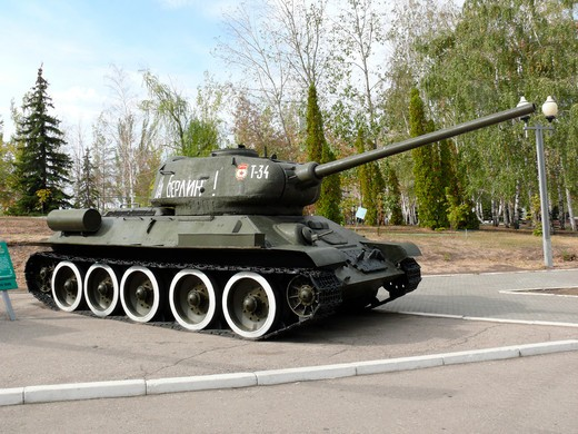 Russian T-34 army tank from WWII on Falcon Hill, Saratov, Russia : Stock Photo