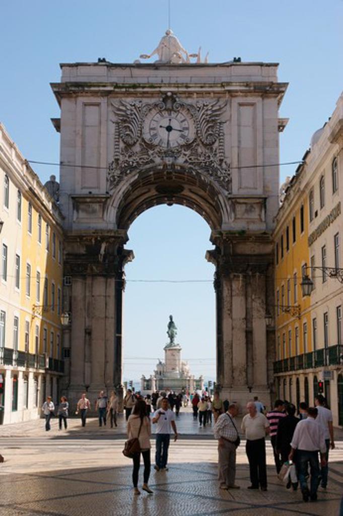PORTUGAL, Lisbon: Triumphal arch on the Rua Augusta : Stock Photo