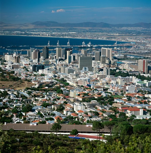 Aerial view of a city, Cape Town, South Africa : Stock Photo