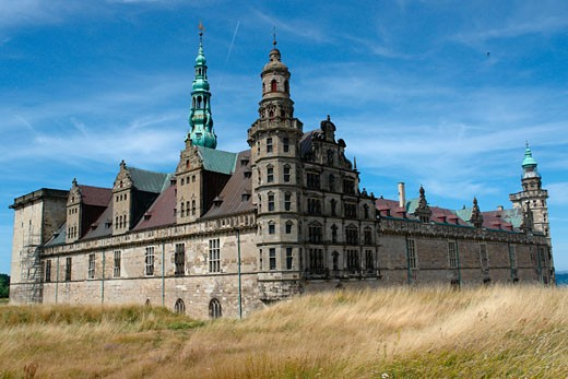 Facade of a castle, Kronborg Castle, Elsinore, Denmark : Stock Photo