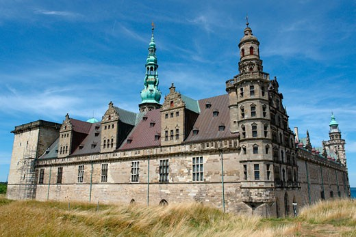 Facade of a castle, Kronborg Castle, Elsinore, Denmark : Stock Photo
