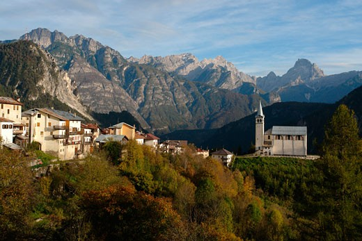 Stock Photo: 1246-940 Buildings in a valley, Pieve di Cadore, Veneto, Italy