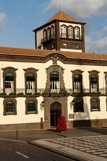 Facade of Town Hall, Praca do Municipio, Funchal, Madeira, Portugal : Stock Photo