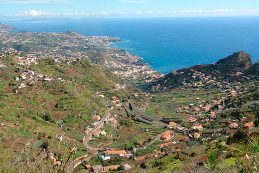 Stock Photo: 1246-994 High angle view of a town at the coast, Cabo Girao, Camara De Lobos, Cruz da Caldeira, Madeira, Portugal