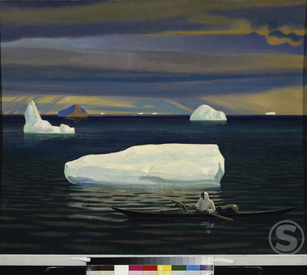 Eskimo In A Kayak, Greenland by Rockwell Kent, 1933, 1882-1971, Russia, Moscow, Pushkin Museum of Fine Arts : Stock Photo
