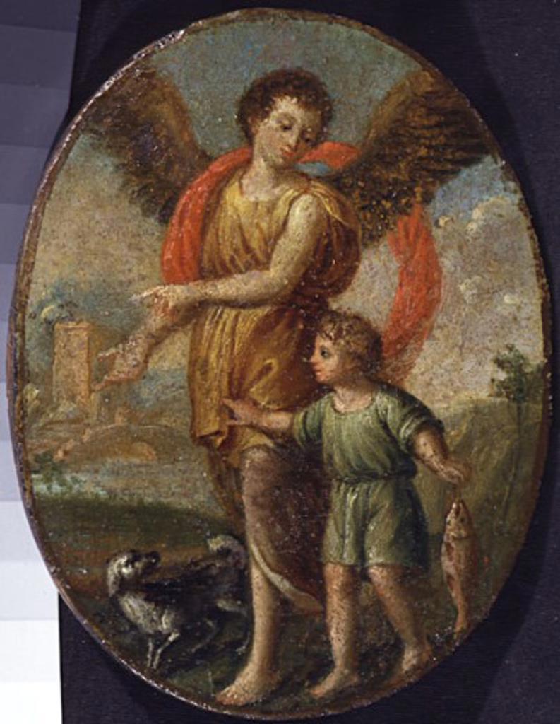 Tobias and the Angel, by Vladimir Lukic Borovikovskij, 1757-1825, Russia, Moscow, Tretyakov Gallery : Stock Photo